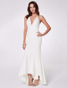 white v-neck evening gown