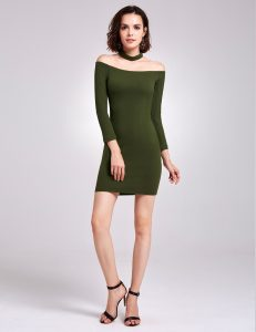 green off shoulder knit dress