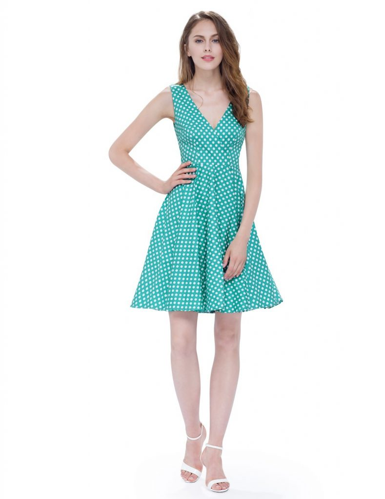 retro green polka dot fit flare dress