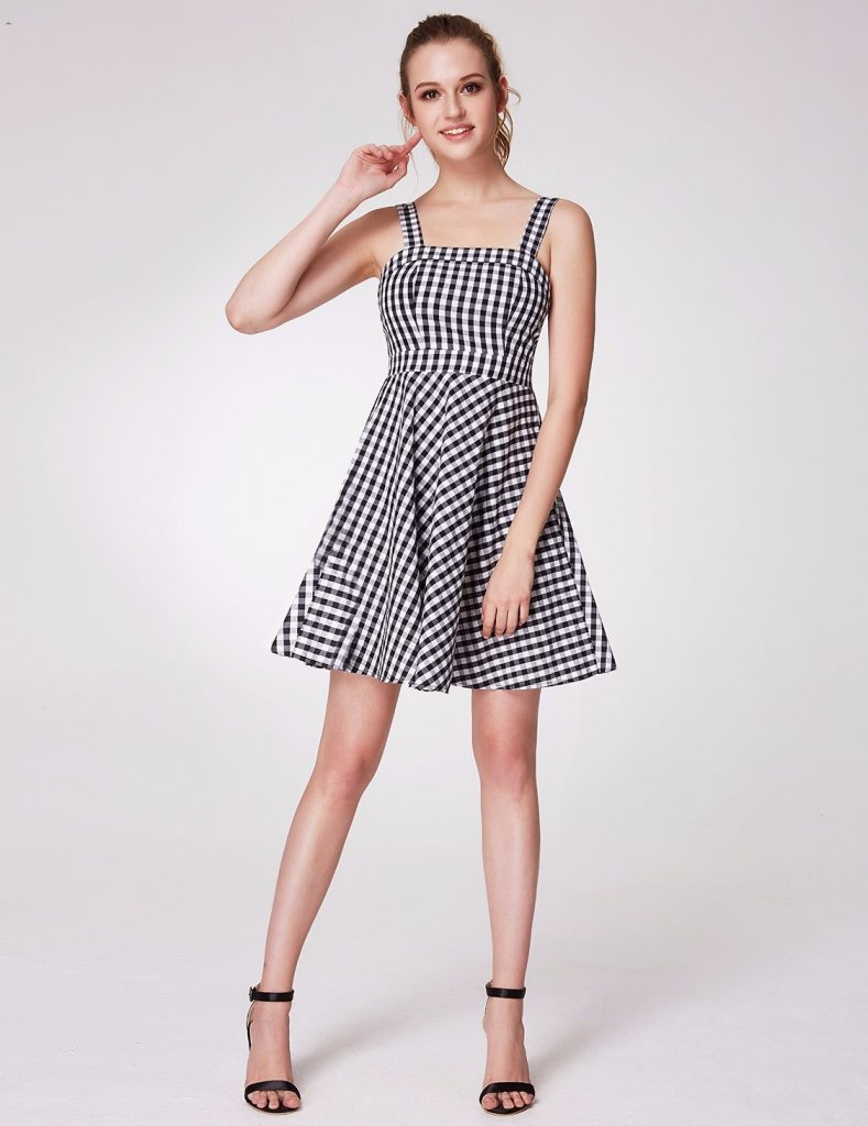 gingham fit flare dress