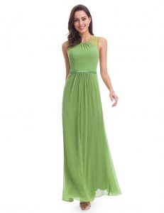 green sleeveless evening dress