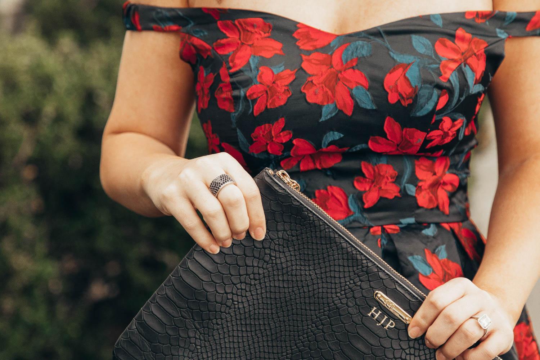 black and red off the shoulder dress