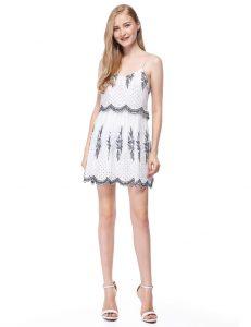 White Sleeveless Embroidered Summer Dress