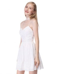 White Fit and Flare Party Dress