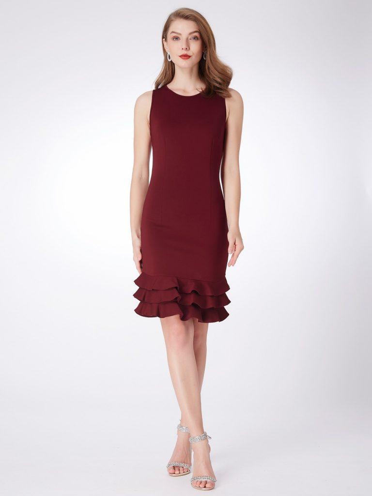 burgundy sheath dress