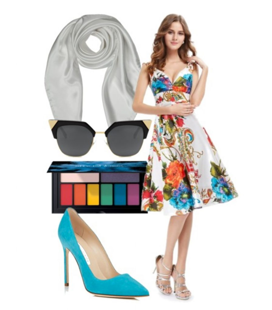 tropic beach party dress and accessories