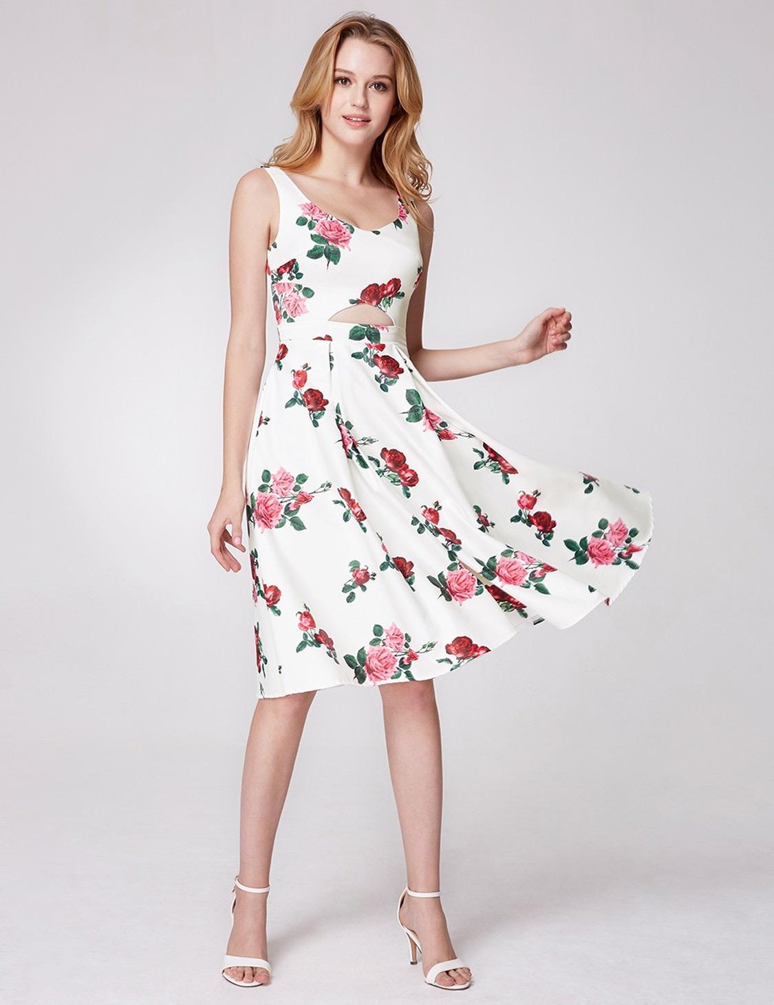 Rose Print Party Dress