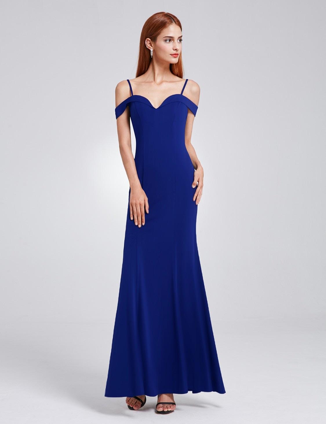 blue-off-shoulder-evening-dress