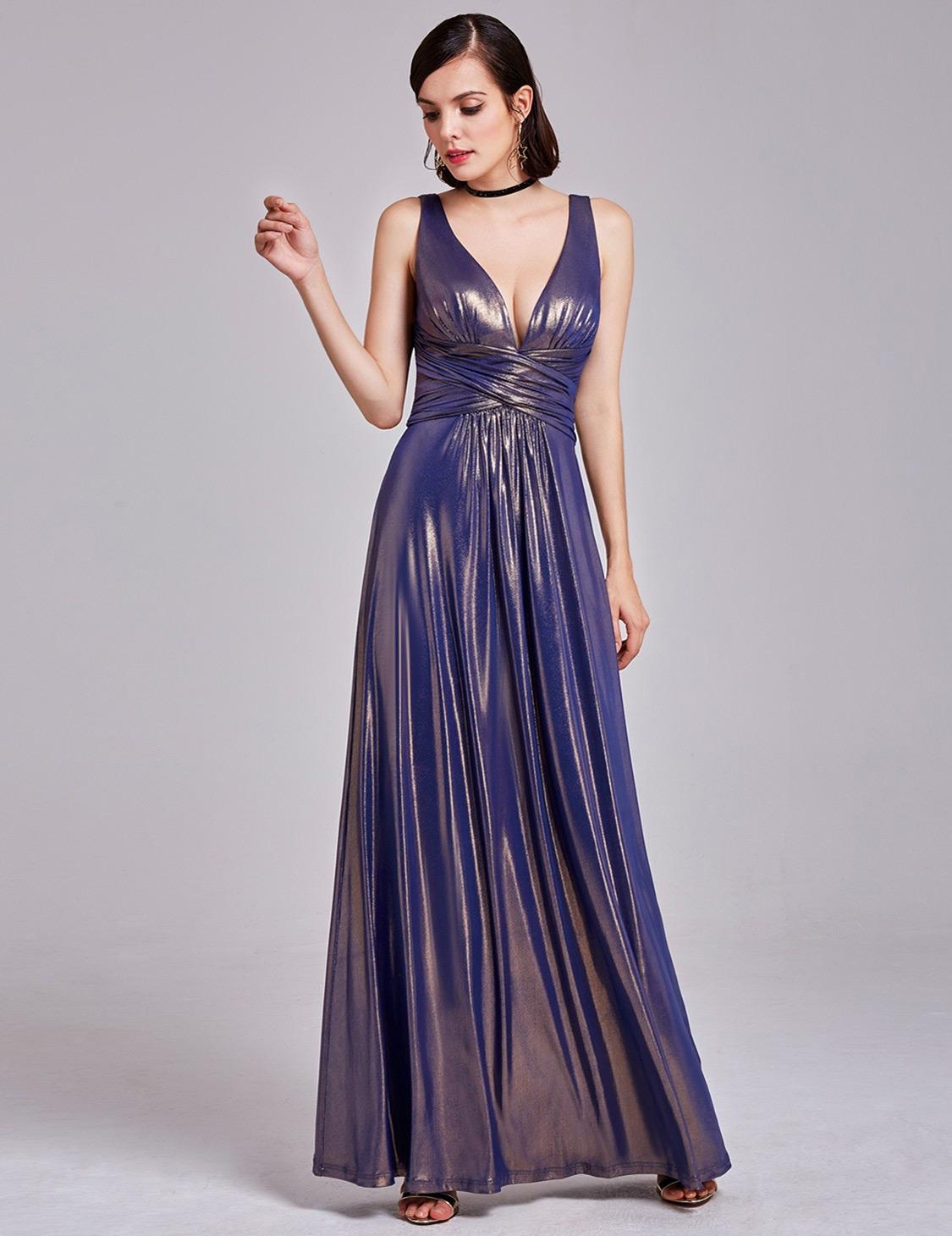 purple metallic evening dress