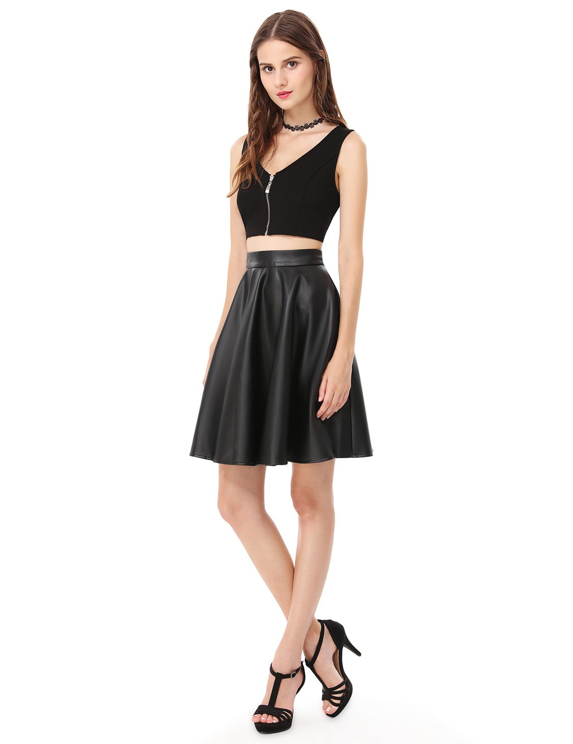 leather skirt crop top