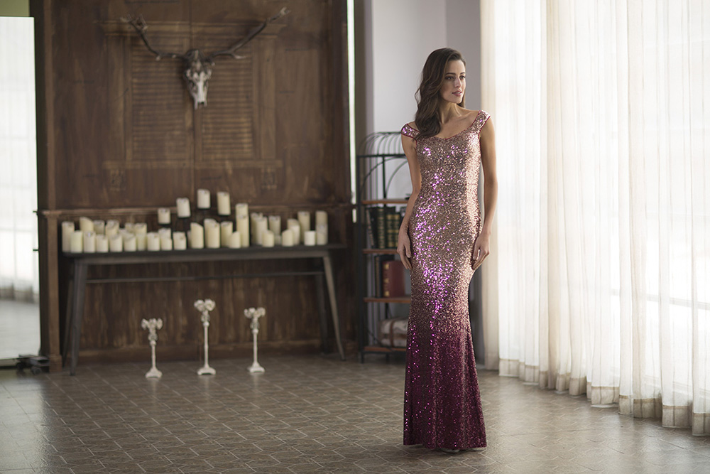 a beautiful girl in ever pretty Off Shoulder Floor Length Sequins Evening Gown
