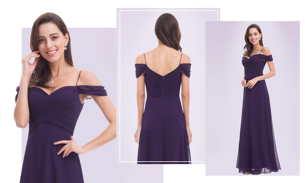 Off-Shoulder-Sweetheart-Chiffon-Purple-Dress