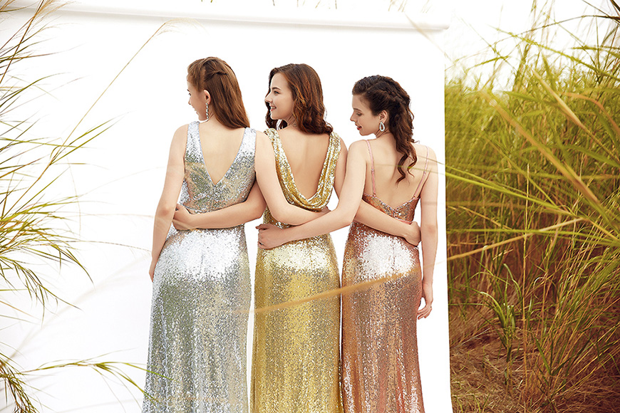 three young girls with ever pretty sequin dresses
