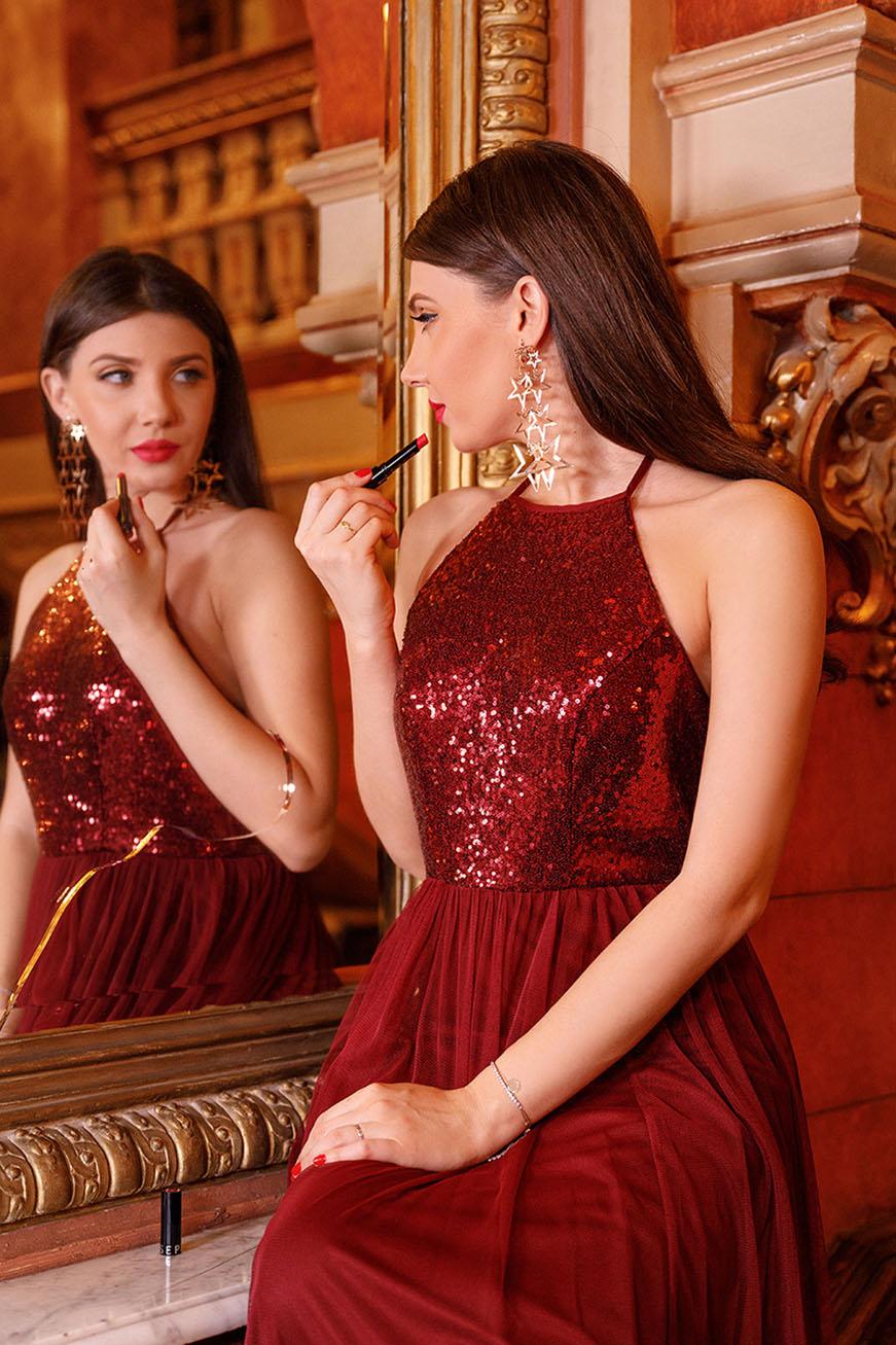 larisa in ever pretty Long Sequin Halter Evening Dress
