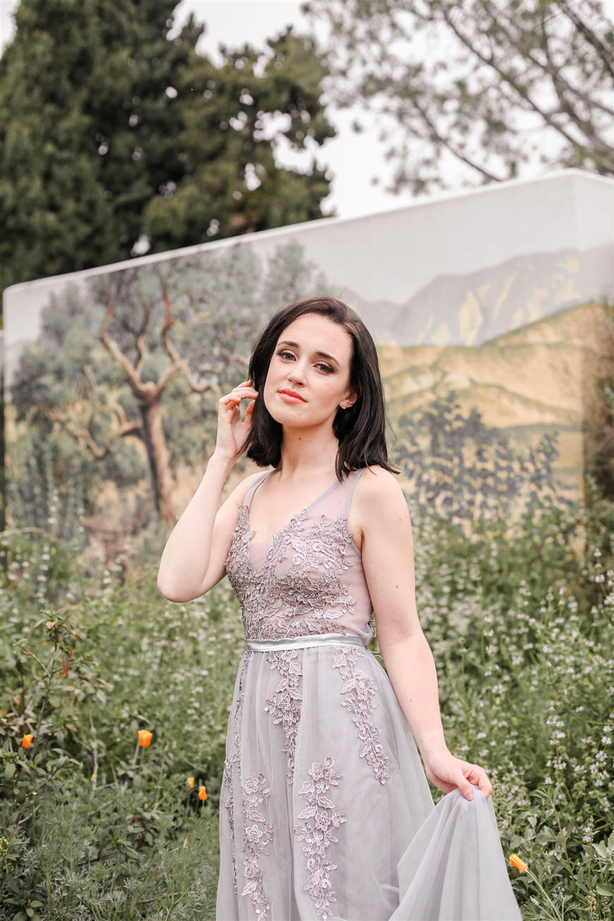 A-Girl-Wears-A-Gray-Tulle-Long-Ethereal-Dress
