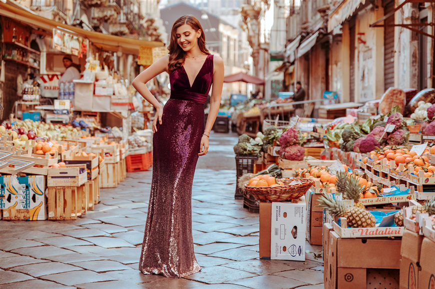 Larisa-wears-a-sequin-and-velvet-dress