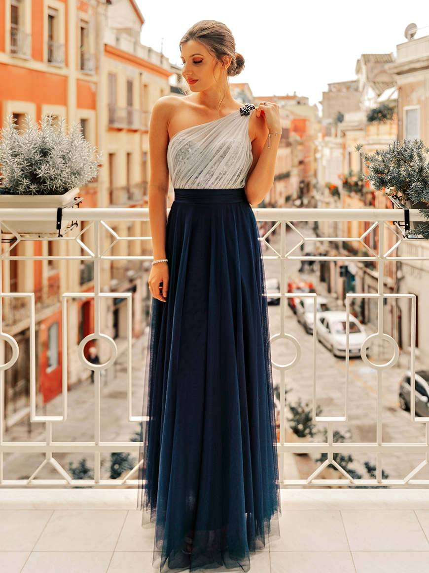 Larisa-wears-Long-One-Shoulder-Tulle-Party-Dress