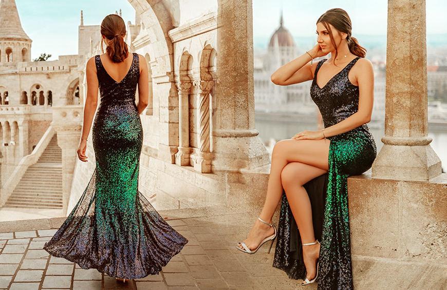 Larisa-wears-a-dark-green-sequin-dress