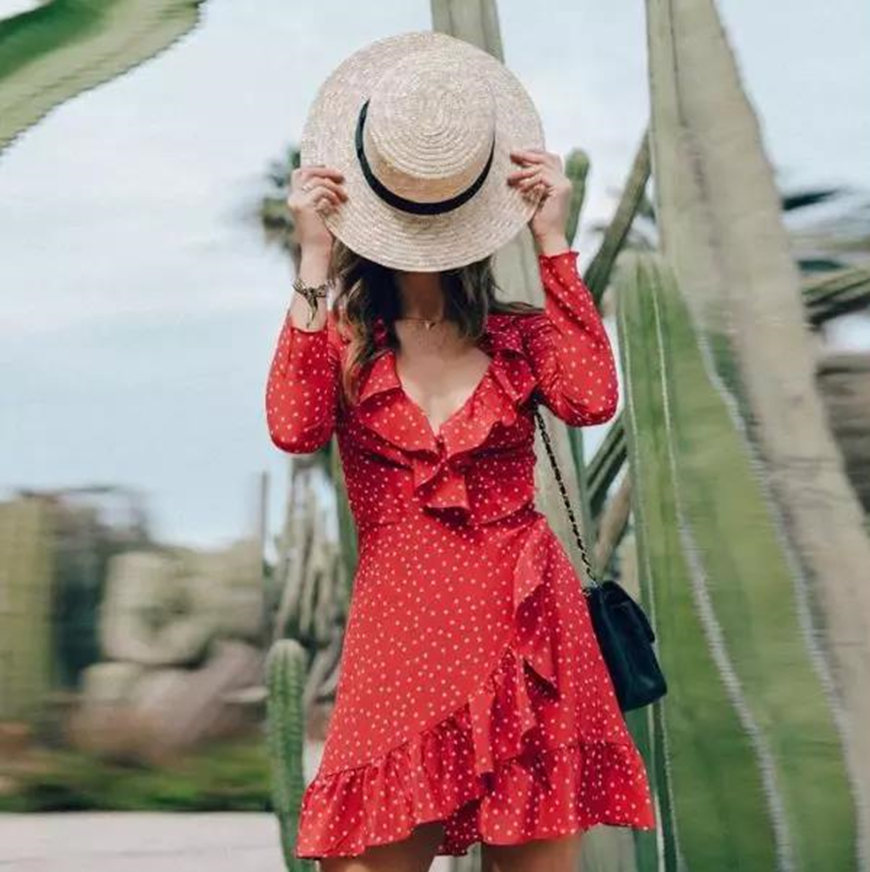 a-thin-girl-wears-a-short-red-polka-dot-dress