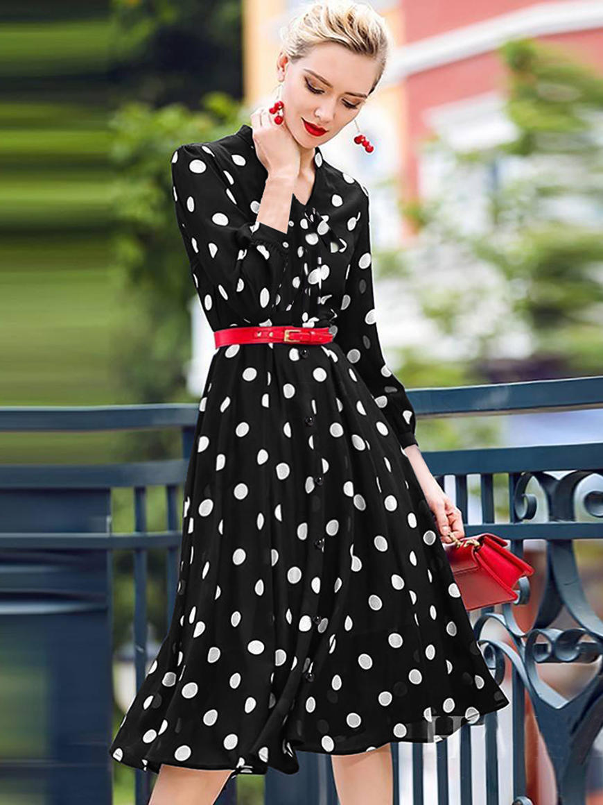 a-beautiful-woman-wears-ever-pretty-polka-dot-dress