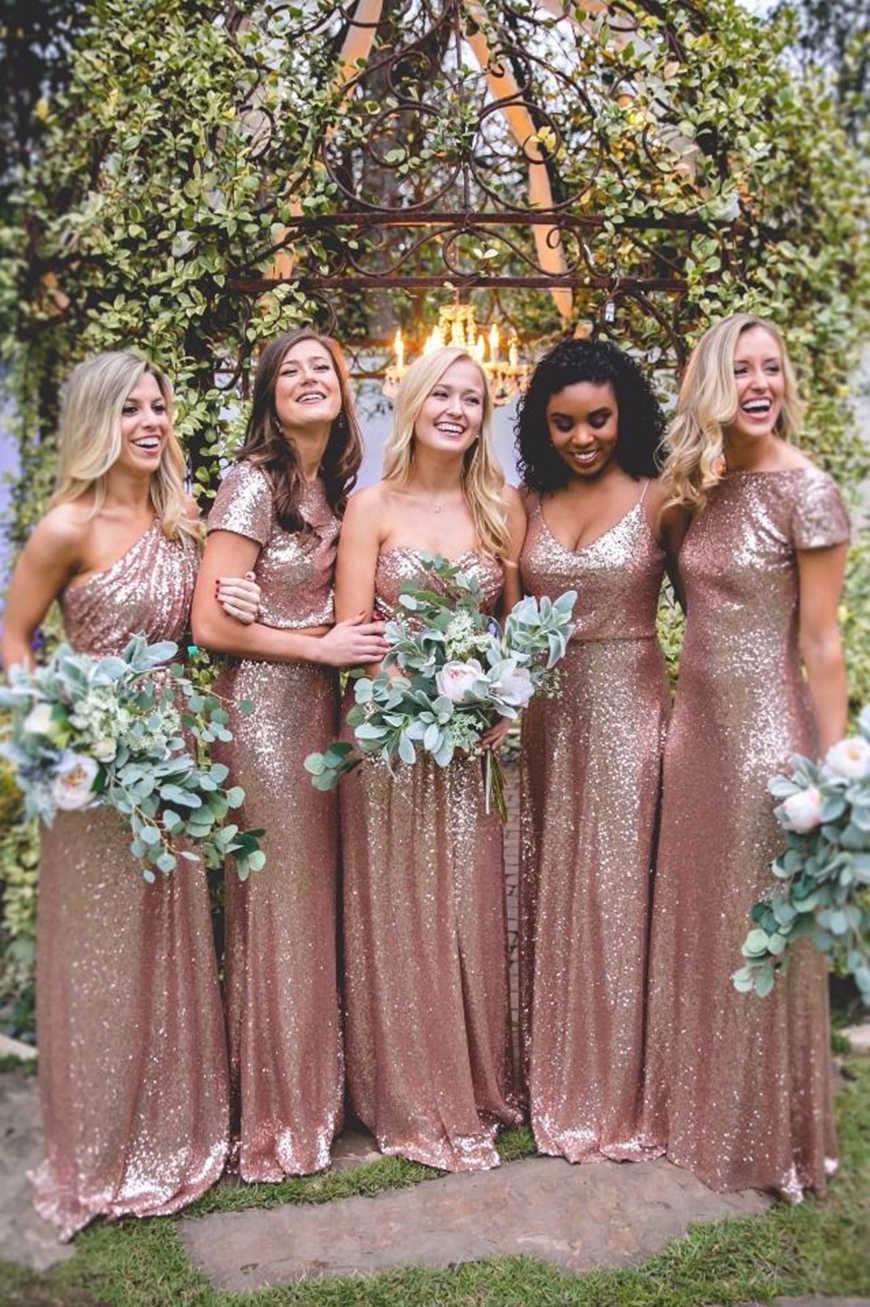 four-bridesmaids-wear-sequin-dresses