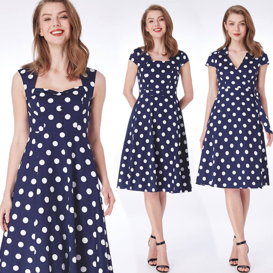 three-blue-dresses-with-white-dots