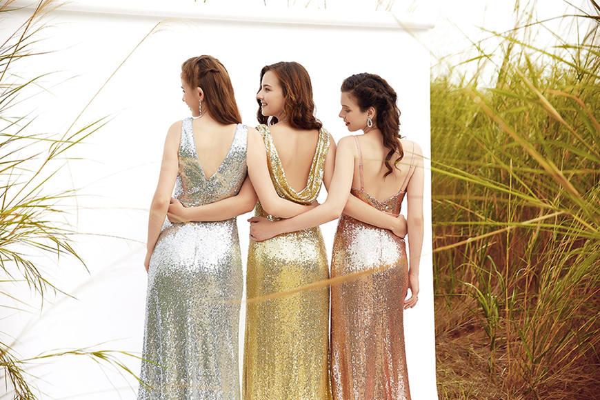 three-women-wearing-sequin-bridesmaid-dresses