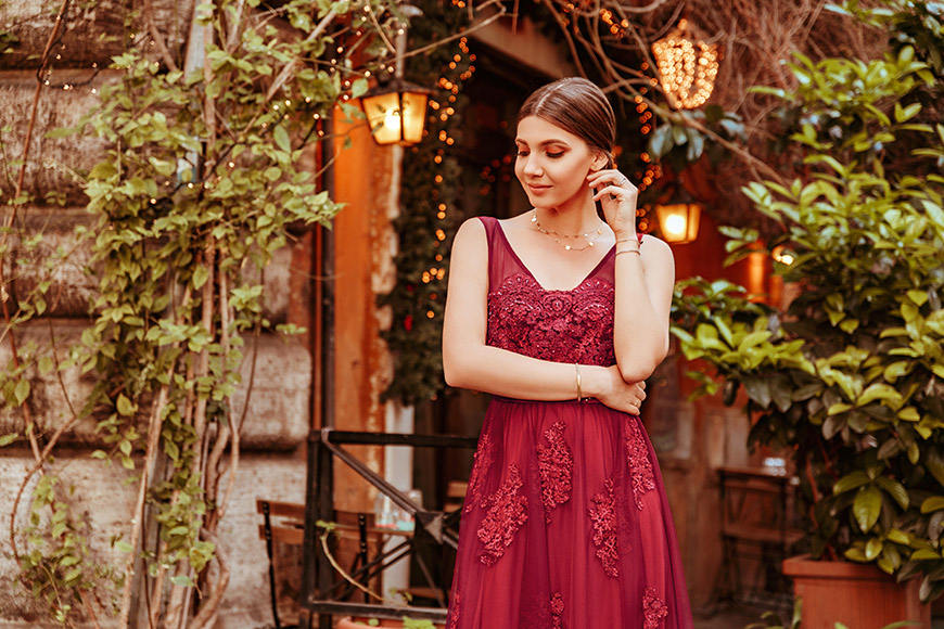 larisa-wears-a-beautiful-flower-burgundy-dress