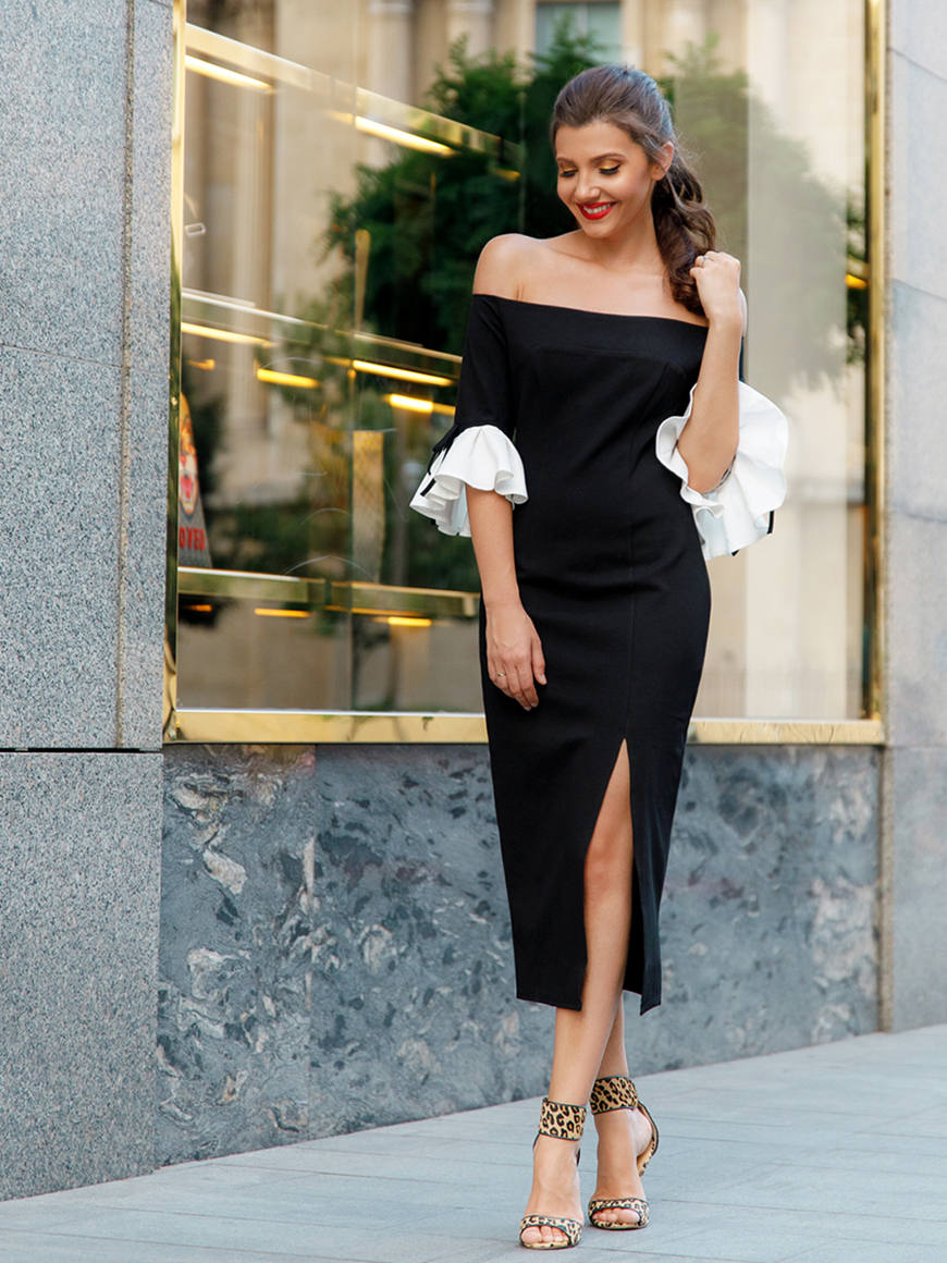 a-black-off-the-shoulder-evening-dress