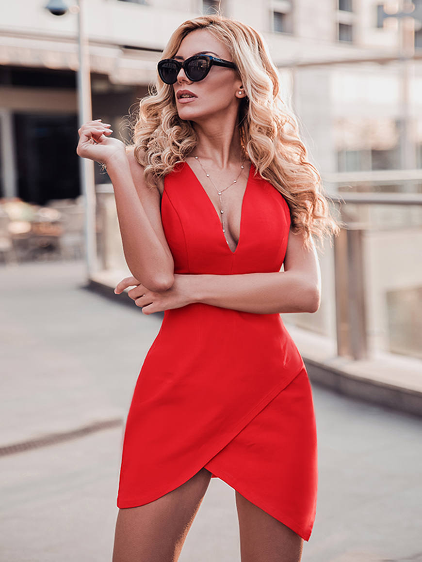 a sexy red short dress