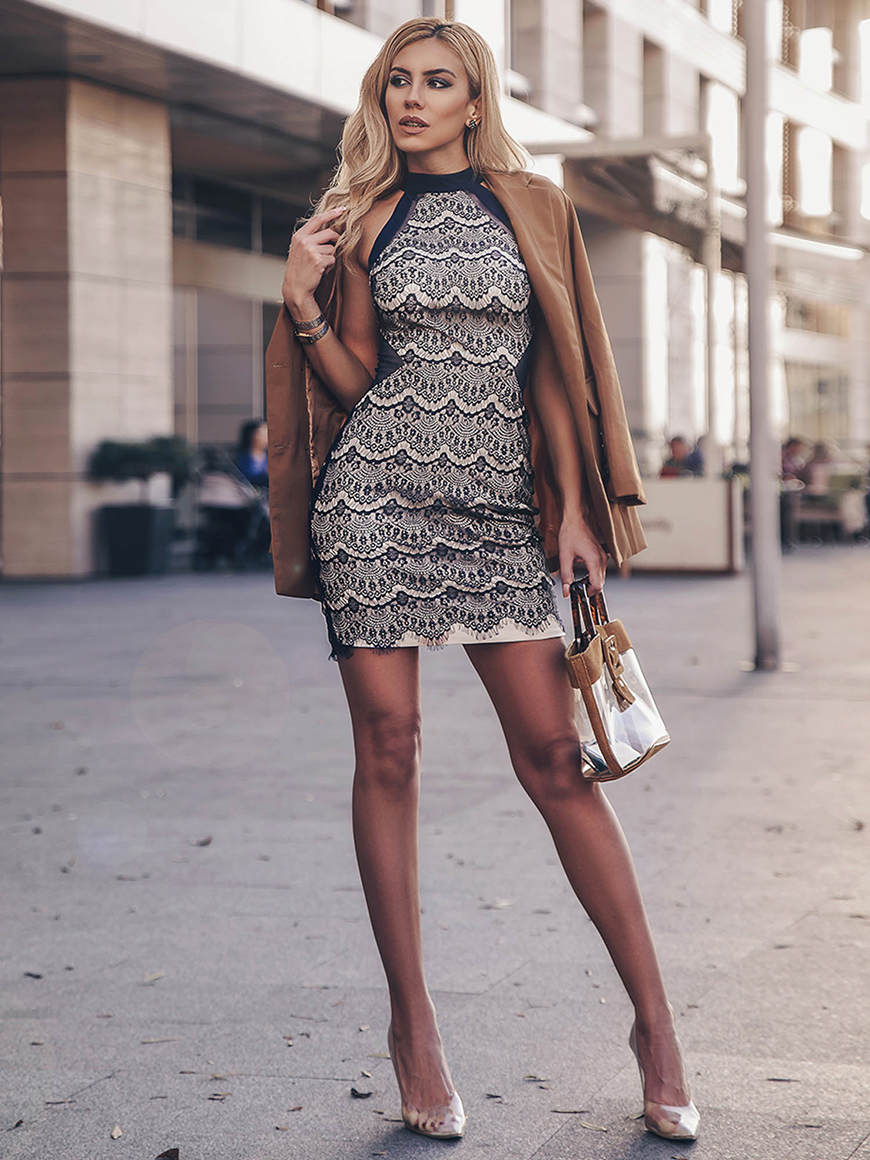 a sexy short lace dress