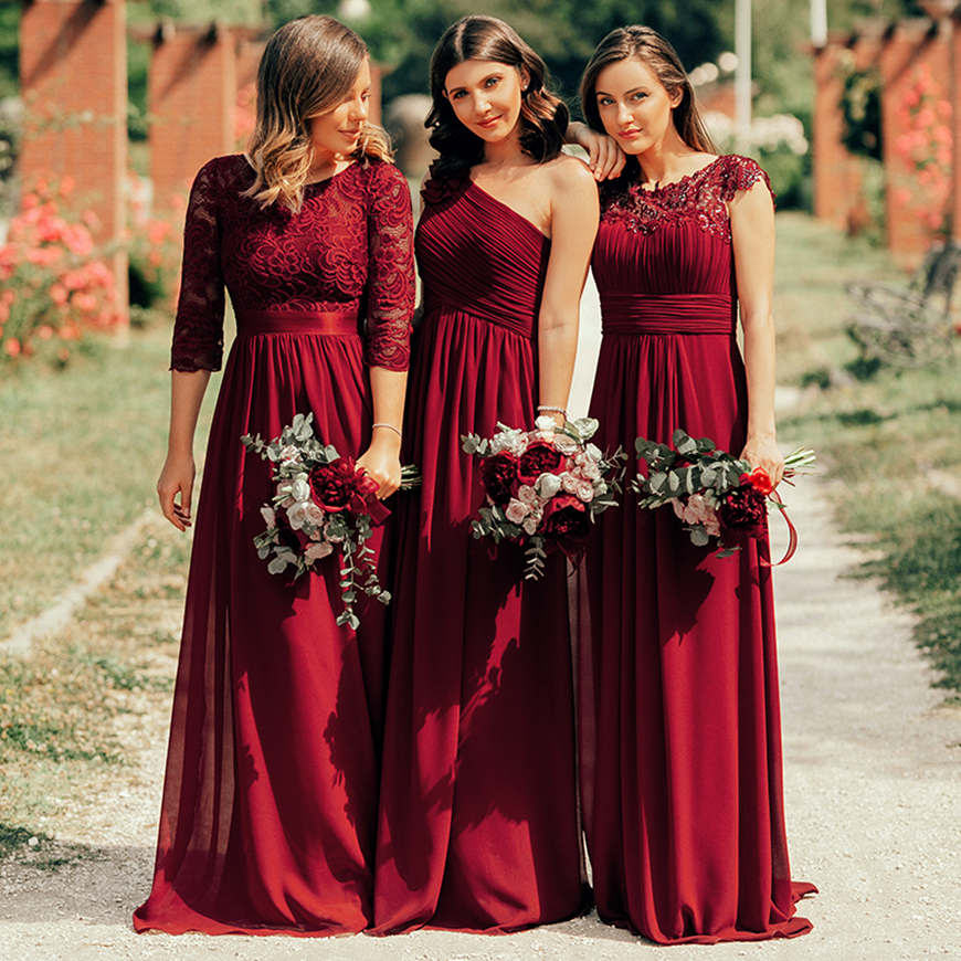 burgundy-lace-bridesmaid-dresses