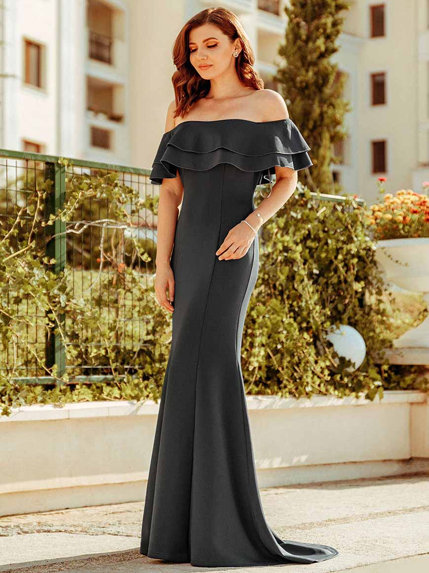 deep-grey-off-shoulder-dress