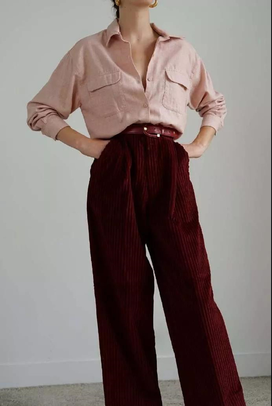 pink-blouse-and-burgundy-trousers