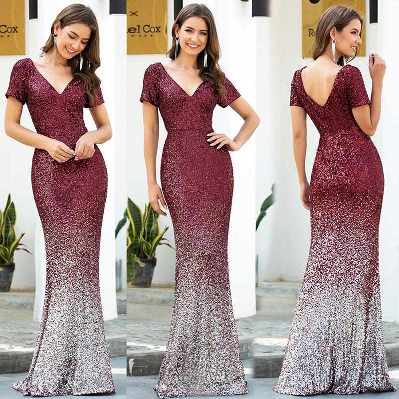 a burgundy sequin dress