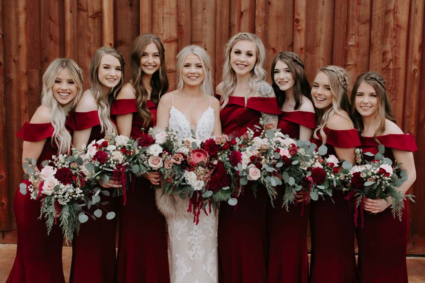 burgundy-bridesmaid-dresses
