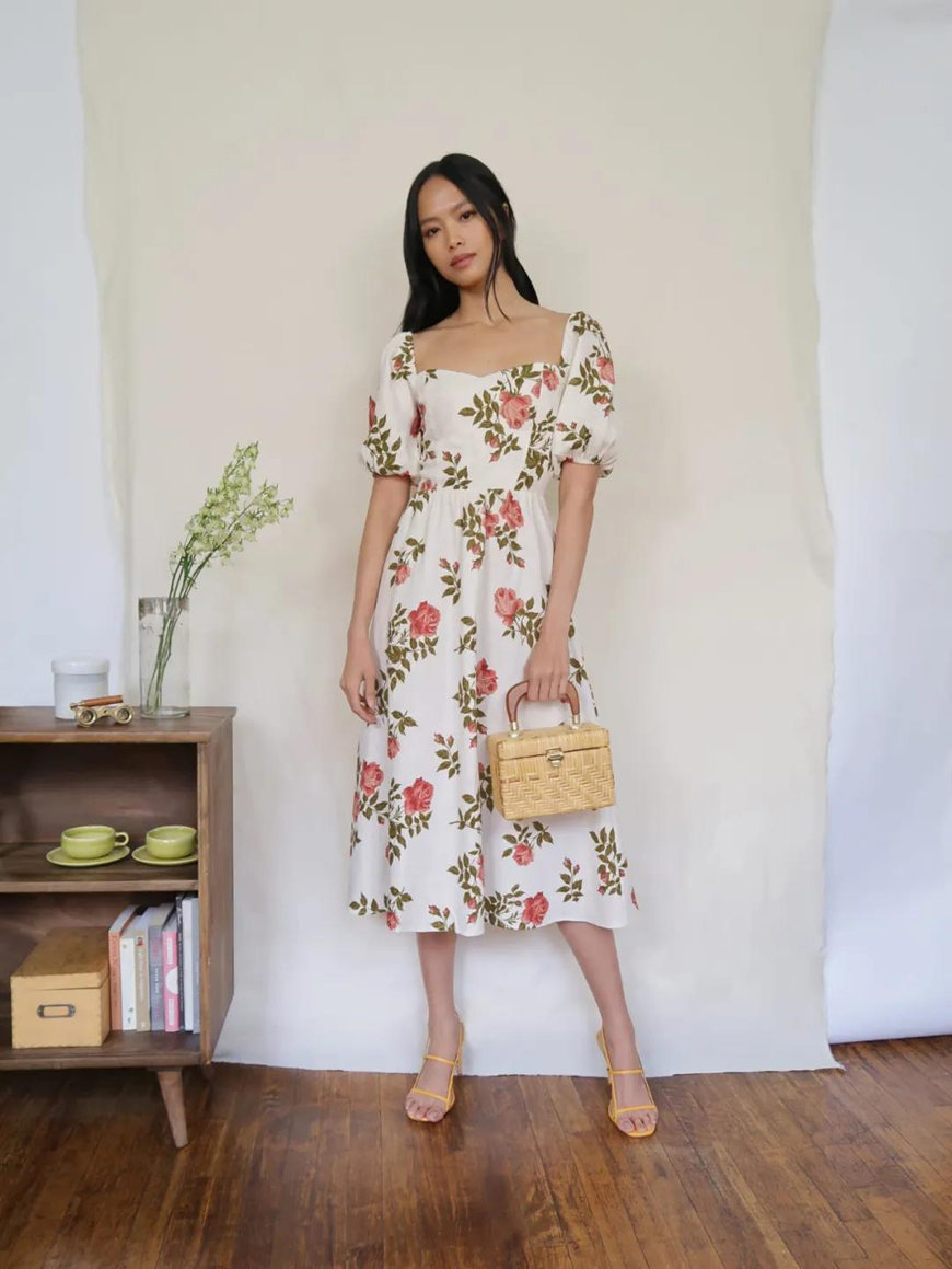 a long floral milkmaid dress