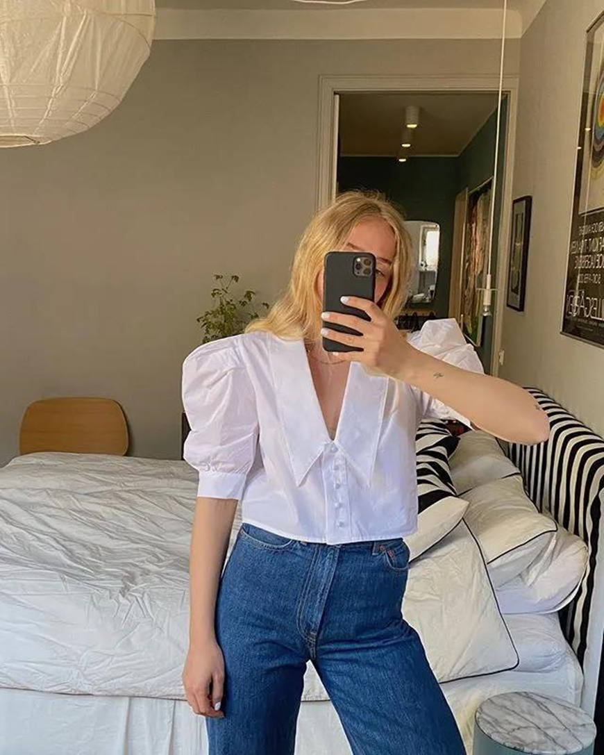 a short puff sleeve blouse