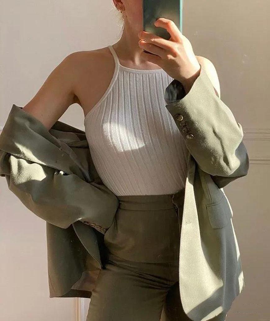 a white knit top