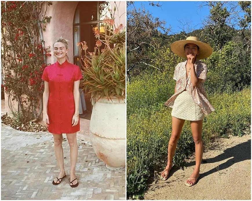 two women wear sandals
