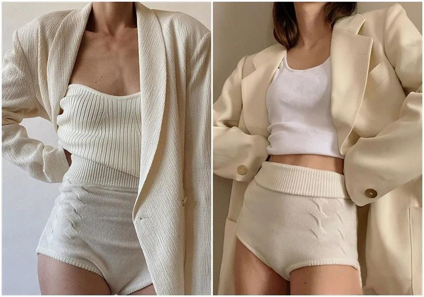 white knit shorts with suits