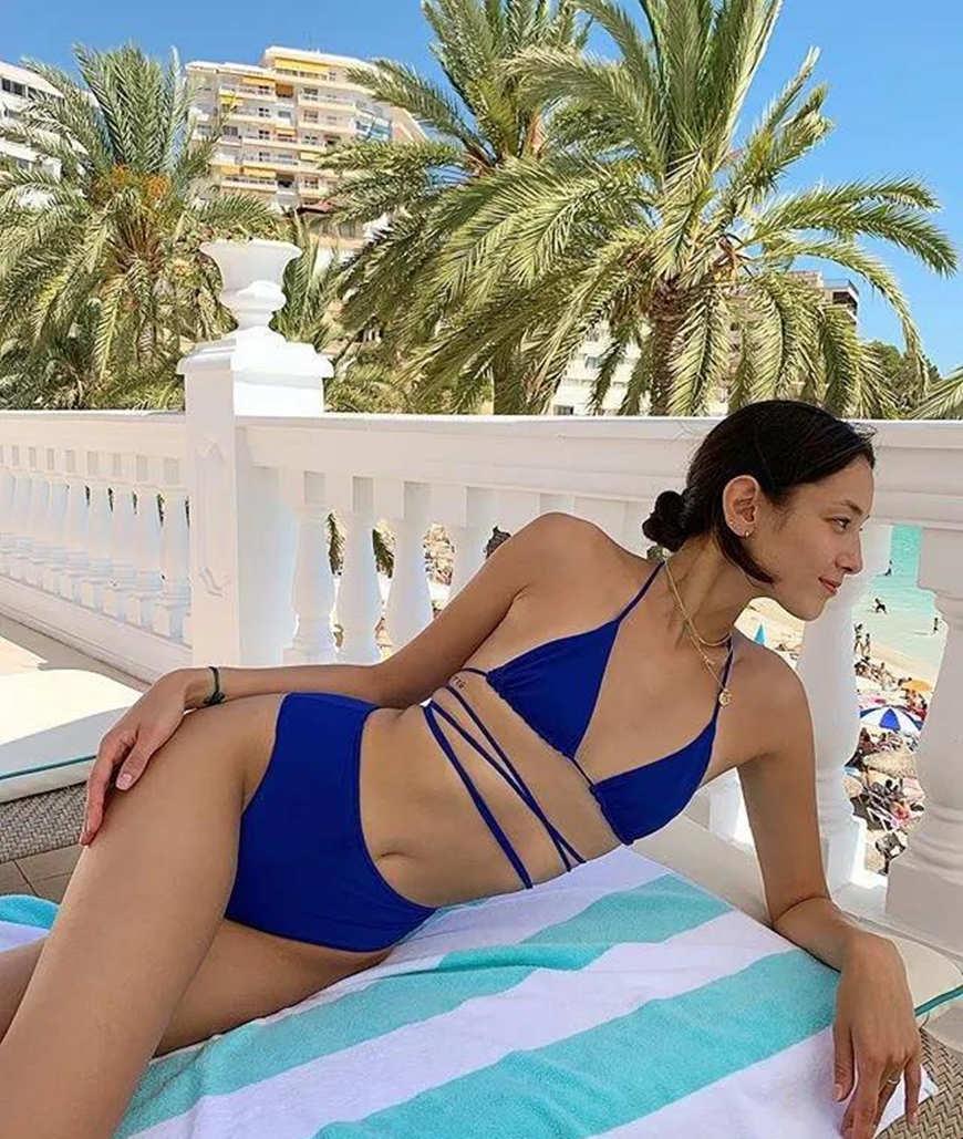 a navy blue bikini