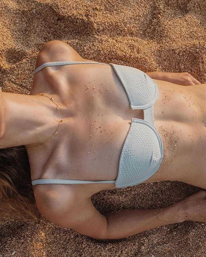 a white shell bikini