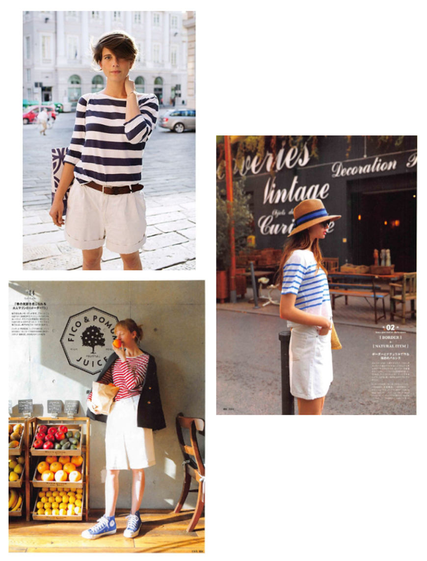striped-T-shirts-and-white-shorts