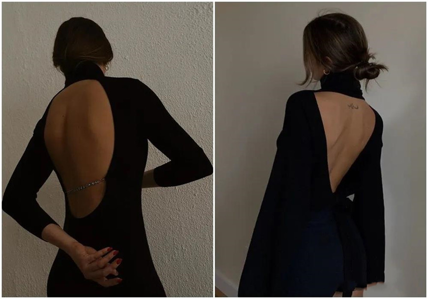 two-black-long-sleeves-backless-dresses