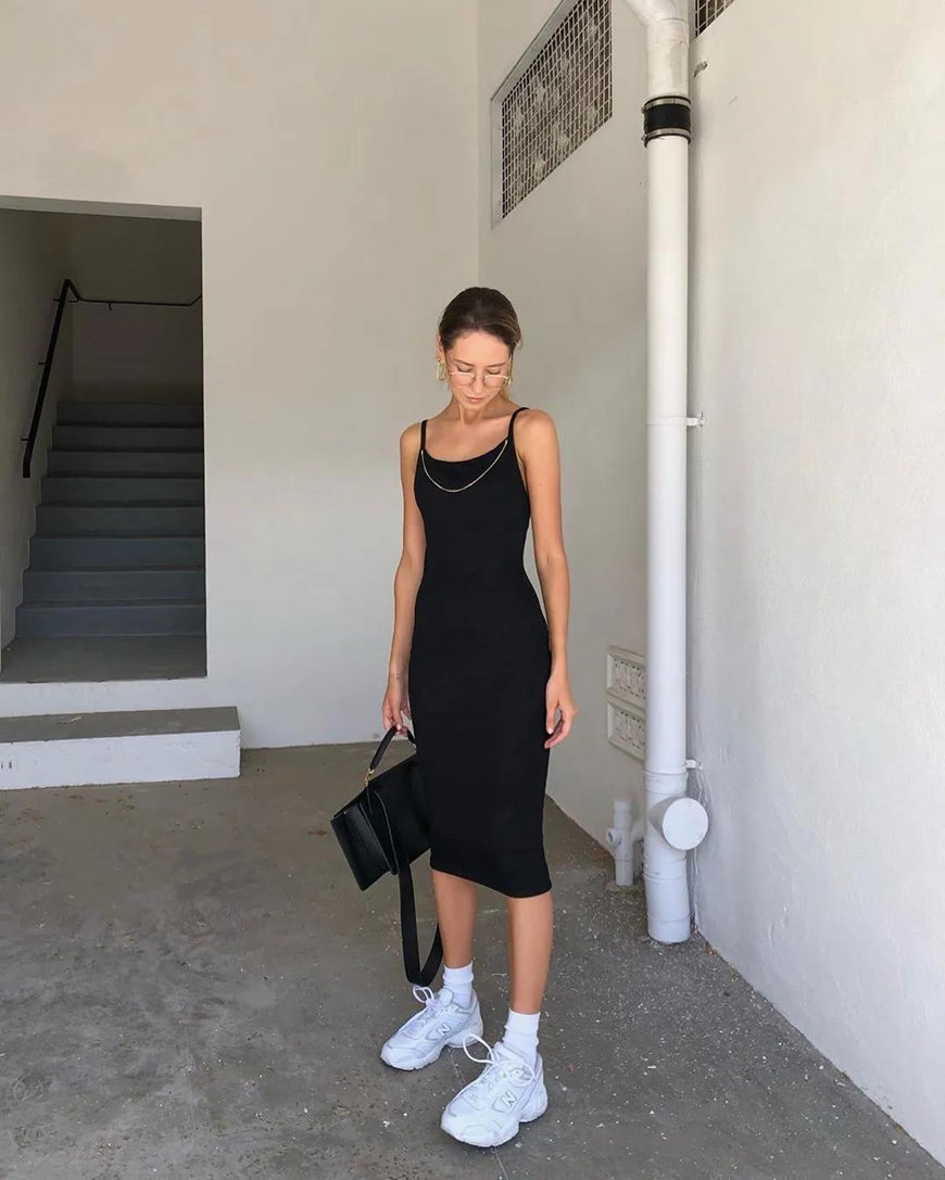 a-black-dress-and-chunky-sneakers