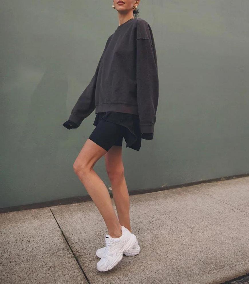 black-bike-shorts-and-chunky-sneakers
