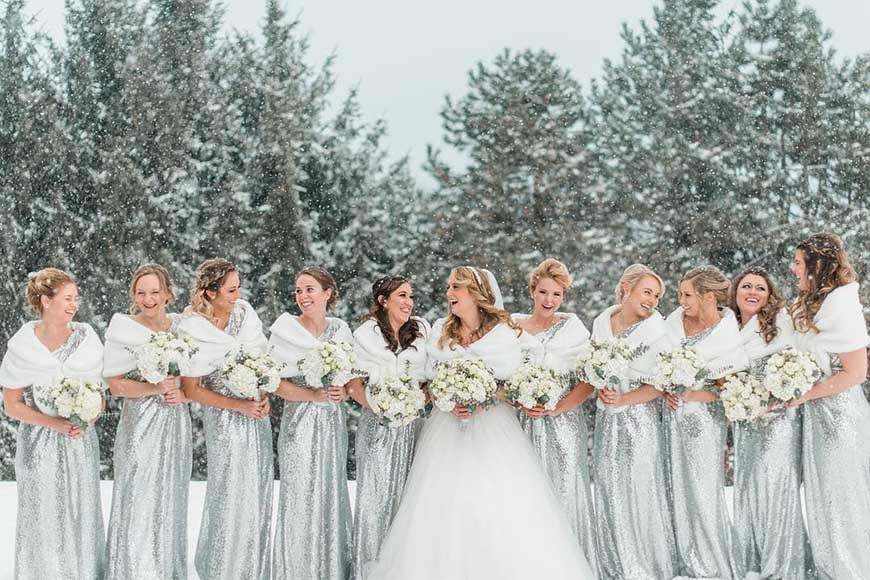 bridesmaids-wearing-the-silver-dresses