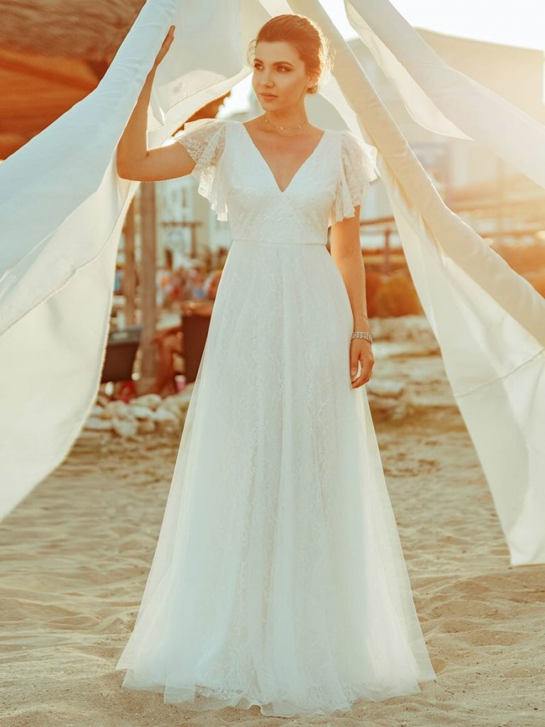 ruffle-sleeves-simple-wedding-dresses