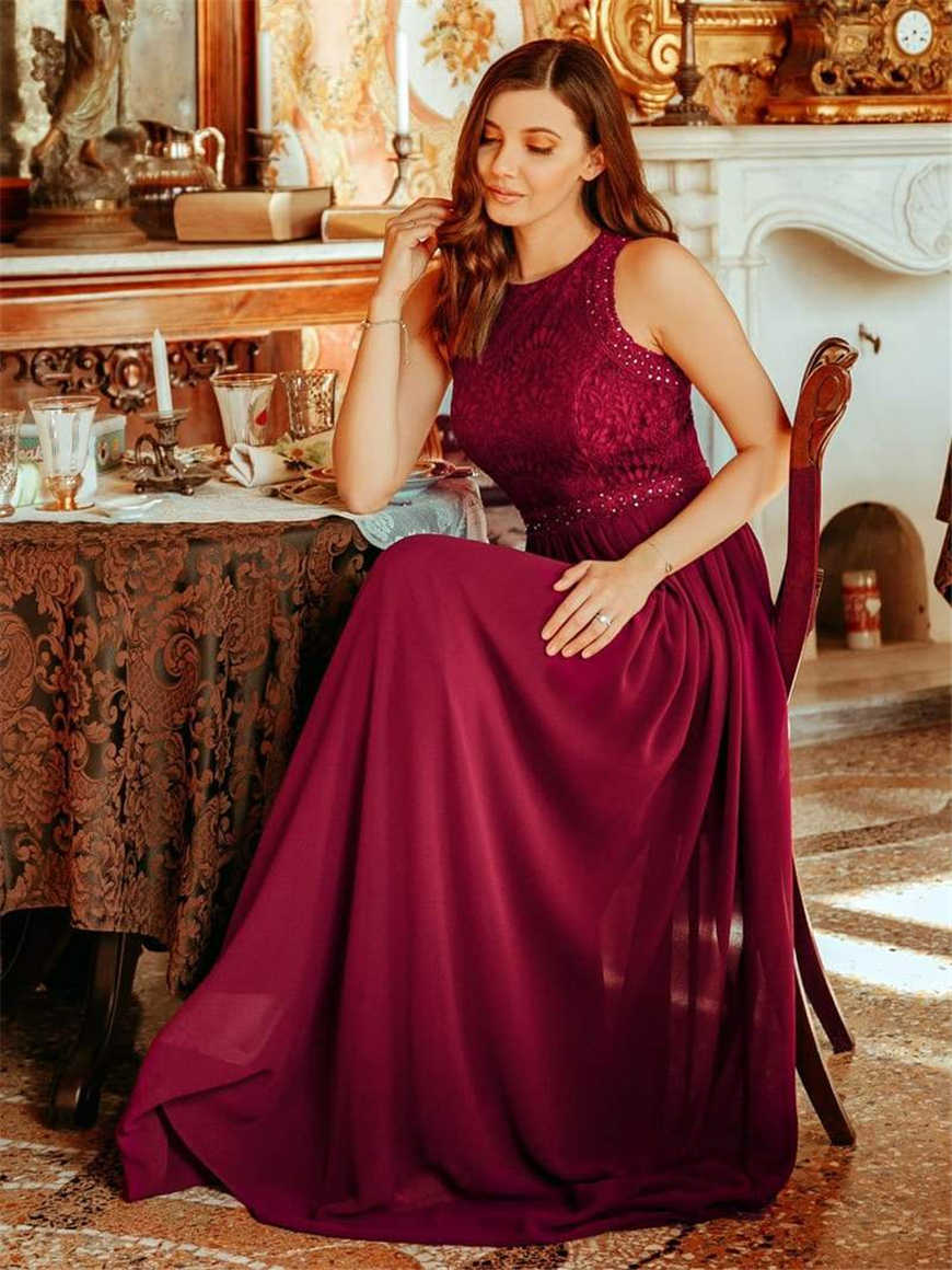 A-woman-in-a-Burgundy-Bridesmaid-dress